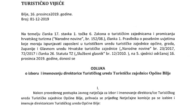 ODLUKA o izboru i imenovanju direktorice Turističkog ureda Turističke zajednice Općine Bilje